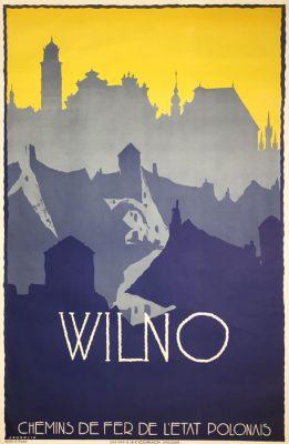 """Oryginalny polski plakat turystyczny """"Wilno"""" wchodzący w skład serii plakatów reklamujących polskie miasta i regiony. Projekt plakatu: STEFAN NORBLIN"""