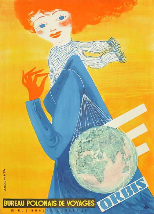 """Oryginalny polski plakat reklamowy biura podróży Orbis """"ORBIS - BUREAU POLONAIS DE VOYAGES"""". Projekt plakatu: JERZY SROKOWSKI"""