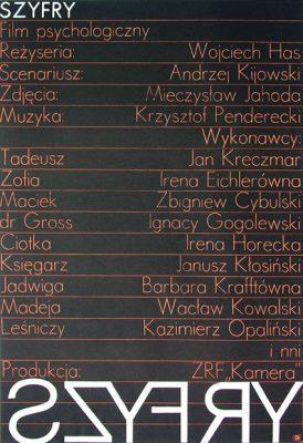 """Oryginalny polski plakat filmowy do polskiego filmu psychologicznego z 1966r. pt. """"Szyfry"""". Reżyseria: Wojciech Has. Proj. Leszek Hołdanowicz (?)"""