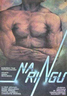 "Polish school of poster, Vintage movie poster PRL ""Na ringu"". Reżyseria: Sergiu Nicolaescu. Projekt plakatu JANUSZ OBŁUCKI"