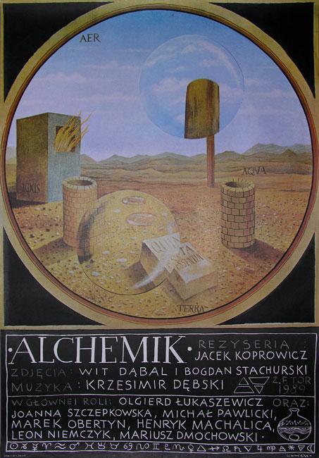 Plakat do filmu polskiego z 1989 roku pt. Alchemik. Reżyseria: Jacek Koprowicz. Projekt plakatu: Henryk Waniek