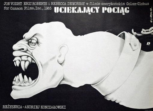 """Oryginalny polski plakat do filmu amerykańskiego z 1980 r. """"Uciekający pociąg"""" w reżyserii Andrieja Konczałowskiego. Projekt plakatu: JAKUB EROL"""