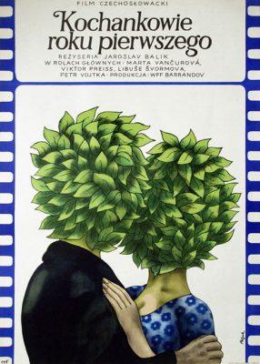 """Oryginalny polski plakat do filmu czechosłowackiego. """"Kochankowie pierwszego roku"""". Reżyseria: Jaroslav Balik. Projekt plakatu: JERZY FLISAK"""