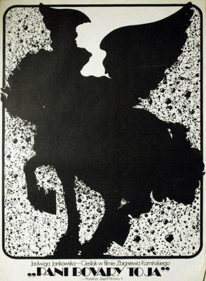 """Oryginalny polski plakat filmowy do filmu polskiego z 1977 roku pt. """"Pani Bovary to ja"""". Reżyseria Zbigniew Kamiński. Projekt plakat: Jakub Erol"""
