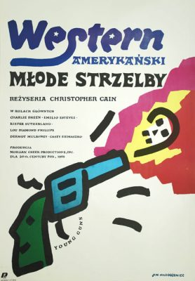 Oryginalny polski plakat filmowy do amerykańskiego westernu z 1988 roku w reżyserii Christophera Cain'a. Projekt plakatu: JAN MŁODOŻENIEC
