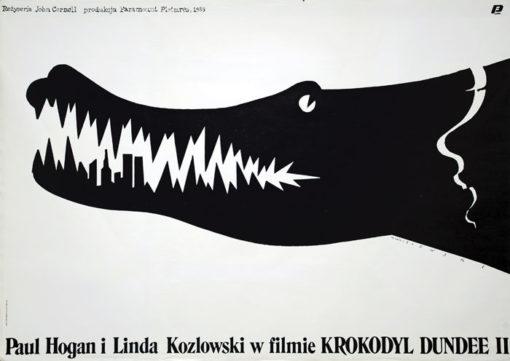 """Oryginalny polski plakat filmowy do filmu """"Krokodyl Dundee II"""" z 1988 roku. Zęby krokodyla uformowane są w nowojorskie wieżowce"""