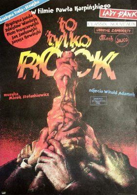 """Polska szkoła plakatu, plakat filmowy vintage PRL """"To tylko rock"""" w reżyserii Pawła Karpińskiego z muzyką Stefankiewicza"""