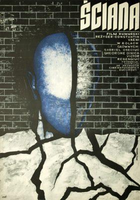 """Oryginalny polski plakat do filmu rumuńskiego """"Ściana"""". Reżyseria: Constantin Vaeni. Projekt plakatu: Andrzej Onegin Dąbrowski"""