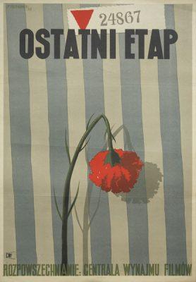 """Bardzo rzadki plakat do filmu """"Ostatni etap"""" w reżyserii Wandy Jakubowskiej wg projektu Tadeusza Trepkowskiego z 1948. Plakat pochodzi z 1958 roku i jest reedycją pierwszego wydania."""