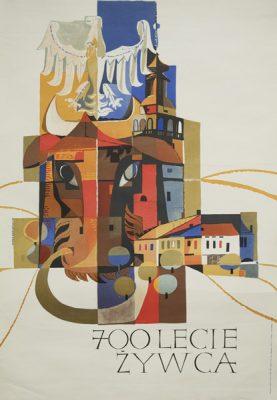 Oryginalny polski plakat informujący o obchodach 700 rocznicy powstania miasta Żywiec