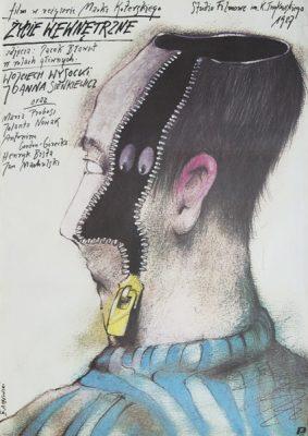 """Plakat filmowy do filmu Marka Koterskiego """"Życie wewnętrzne"""". Plakat zaprojektowany przez Andrzeja Pągowskiego w 1987 roku."""
