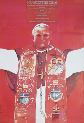 Oryginalny polski plakat reklamujący reportaż z III pielgrzymki Jana Pawła II do Polski. Projekt plakatu:  Waldemar Świerzy