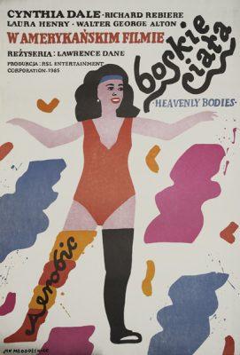 """Plakat do amerykańskiego filmu """"Boskie ciała"""" z 1985 roku w reżyserii Lawrecne'a Dane'a. Projekt plakatu: Jan Młodożeniec."""