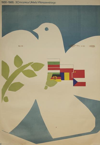 Oryginalny polski plakat informujący o 30 rocznicy Układu Warszawskiego 1955-1985. W projekcie wykorzystano motyw gołębia oraz flagi państw członkowskich układu.