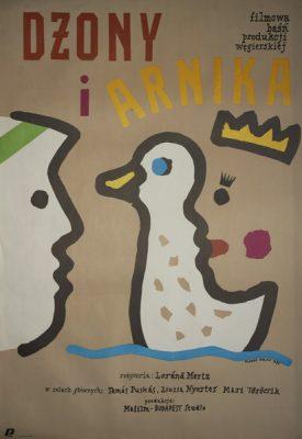 """Plakat do filmu dla dzieci - baśni produkcji węgierskiej pt: """"Dżony i Arnika"""" w reżyserii Loranda Mertza. Plakat zaprojektowany został w 1985 przez Marka Wajdę."""