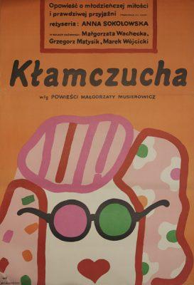 """Plakat do filmu wg powieści Małgorzaty Musierowicz """"Kłamczucha"""" z 1981 roku w reżyserii Anny Sokołowskiej. Projekt plakatu: Jan Młodożeniec."""