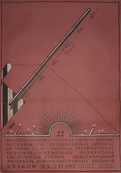 Plakat reklamujący 22 Międzynarodowy Festiwal Filmów Krótkometrażowych w Krakowie w dniach 28 V - 2 VI 1985. Plakat zaprojektowany został przez Franciszka Starowieyskiego.