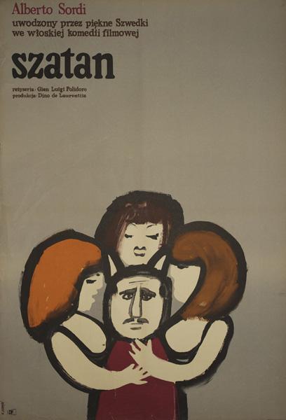 Plakat filmowy z 1965 roku autorstwa Witolda Janowskiego do włoskiej komedii filmowej w reżyserii Gian Luigi Polidoro