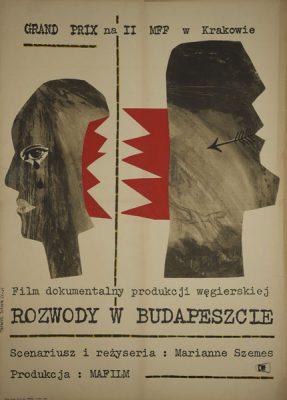 Plakat filmowy z 1965 roku autorstwa Teresy Talarek do węgierskiego filmu dokumentalnego w reżyserii Marianne Szemes. Grand Prix na II MFF w Krakowie.