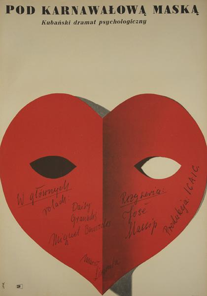 """Plakat filmowy do kubańskiego dramatu psychologicznego """"Pod karnawałową maską"""" w reżyserii Jose Masip. Plakat projektu Krzysztofa Lenka z 1964 roku."""
