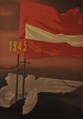 Polski plakat propagandowy wykonany z okazji zwycięstwa nad Niemcami w II wojnie światowej. Projekt plakatu  wykonał Witold Skulicz (1926-2009).