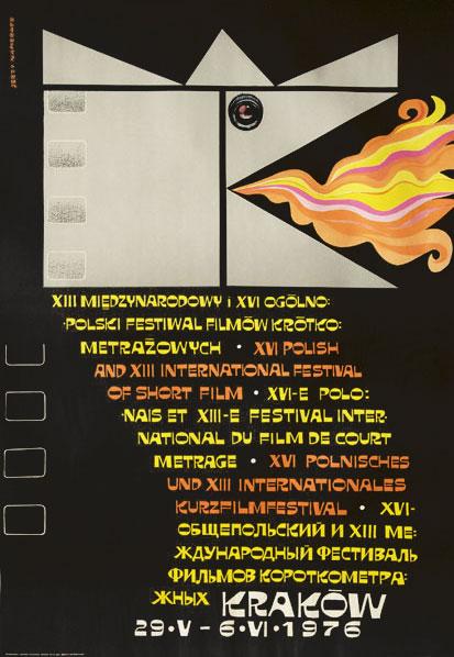 Oryginalny polski plakat ogłaszający XIII Miedzynarodowy i XVI Ogólnopolski Festiwal Filmów Krótkometrażowych w Krakowie 29.05 - 6.06.1976. Projekt plakatu: JERZY NAPIERACZ