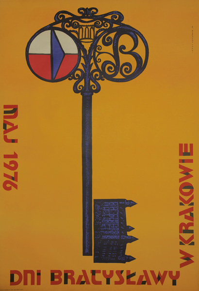 Oryginalny polski plakat ogłaszający obchody Dni Bratysławy w Krakowie