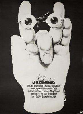 """Polski plakat do amerykańskiego filmu """"Weekend u Berniego"""" w reżyserii Teda Kotcheff'a. Projekt plakatu: *Erol*"""