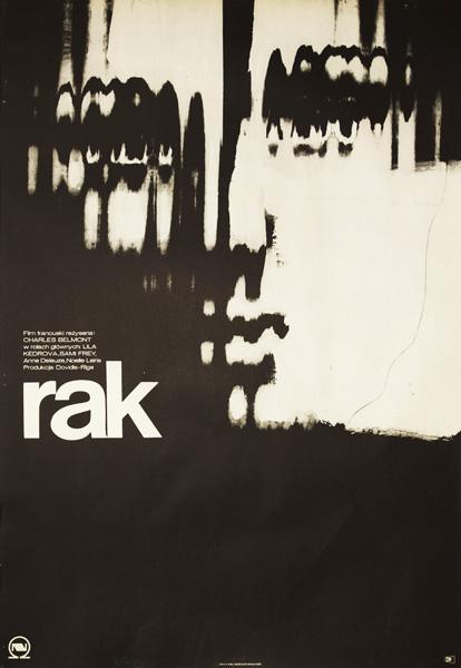 """Polski plakat do francuskiego filmu z 1972 r. """"Rak"""" w reżyserii Charlesa Belmont. W rolach głównych: Lila Kedrova"""