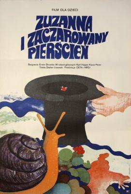 """Plakat filmowy z 1973 roku do niemieckiego filmu dla dzieci """"Zuzanna i zaczarowany pierścień"""" w reżyserii Erwin Stranka. Projekt plakatu: Jacek Neugebauer."""