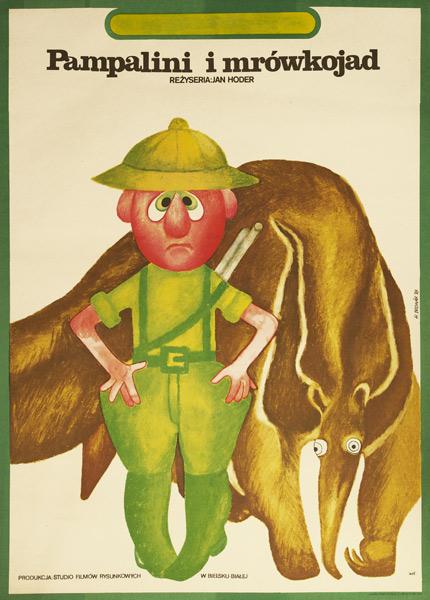 """Plakat filmowy do filmu rysunkowego dla dzieci produkcji polskiej  """"Pampalini i mrówkojad"""". Reżyseria: Jan Hoder. Projekt plakatu: Hanna Bodnar 1978"""