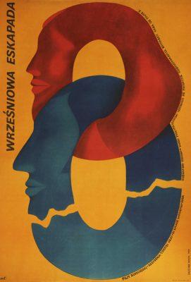 """Plakat filmowy do filmu produkcji rumuńskiej """"Wrześniowa eskapada"""". Reżyseria: Timotei Ursu. Projekt plakatu: Janusz Golik"""