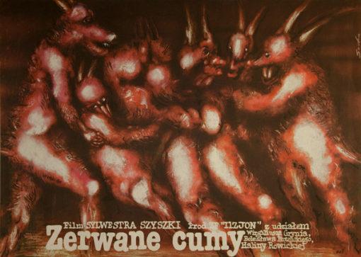 """Oryginalny polski plakat filmowy do filmu polskiego """"Zerwane cumy"""". Reżyseria: Sylwester Szyszka. Projekt plakatu: Romuald Socha"""