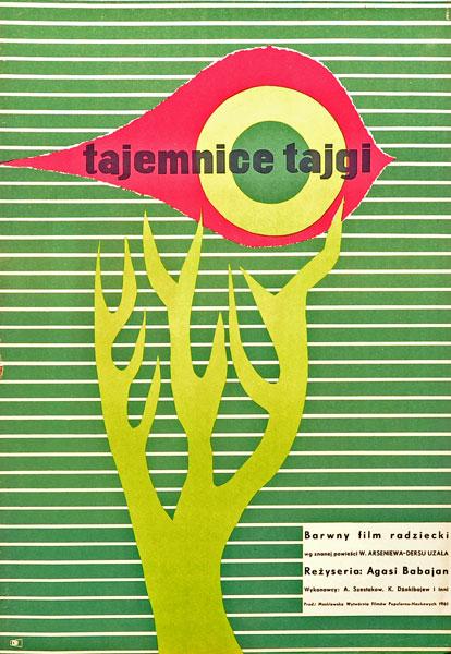 """Oryginalny polski plakat filmowy do barwnego filmu radzieckiego z 1961 roku """"Tajemnice Tajgi"""" wg powieści D. Arseniewa - Dersu uzała. Projekt plakatu: MAURYCY STRYJECKI"""