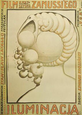 Polski plakat filmowy z końca lat 70-tych do filmu polskiego Krzysztofa Zanussiego Iluminacja. Projekt plakatu: Franciszek Starowieyski