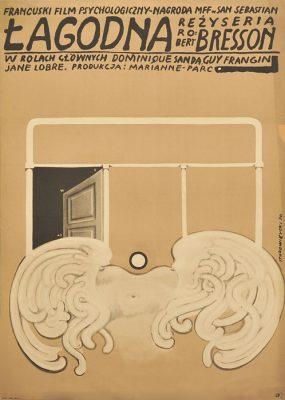 Polski plakat filmowy do filmu produkcji francuskiej Łagodna. Projekt plakatu: Franciszek Starowieyski