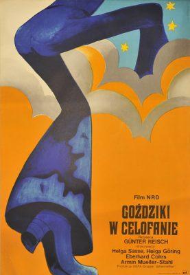 Polski plakat filmowy do filmu produkcji NRD Goździki w celofanie. Projekt plakatu: Wiktor Górka