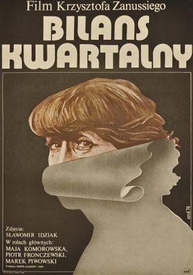 """Oryginalny polski plakat filmowy do filmu Krzysztofa Zanussiego """"Bilans kwartalny"""". Projekt plakatu: Jakub Erol"""