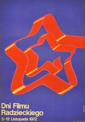 Oryginalny polski plakat reklamujący Dni Filmu Radzieckiego w dniach 3-12 listopada 1972. Projekt plakatu: Andrzej Krzysztoforski