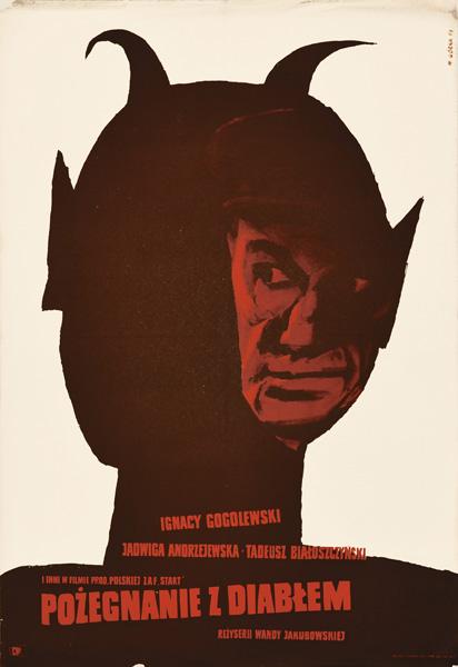 """Oryginalny polski plakat filmowy do filmu Wandy Jakubowskiej """"Pożegnanie z diabłem"""". Projekt plakatu: Wiktor Górka"""
