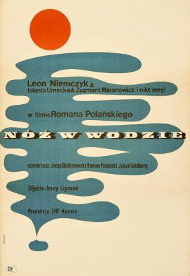 Polski plakat filmowy do filmu Romana Polańskiego Nóż w wodzie. Projekt plakatu: Maciej Hibner