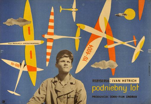 """Oryginalny polski plakat filmowy do filmu """"Podniebny lot"""" z 1960 r. Reżyseria: Ivan Hetrich. Projekt plakatu: Marian Stachurski"""