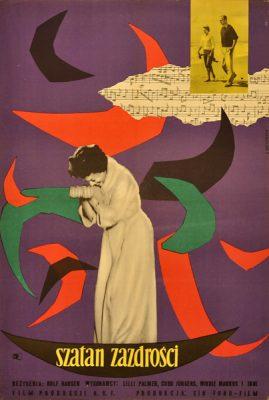 Polski plakat filmowy do filmu produkcji NRF Szatan zazdrości. Projekt plakatu: Liliana Baczewska