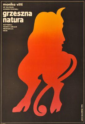 """Polski plakat do włoskiej komedii filmowej """"Grzeszna natura"""". Reżyseria Franco Giraldi. Projekt plakatu: Lech Majewski"""