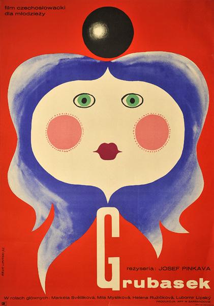 """Oryginalny polski plakat filmowy do czechosłowackiego filmu dla młodzieży """"Grubasek"""". Reżyseria Josef Pinkava. Projekt plakatu: Eryk Lipiński 1972."""