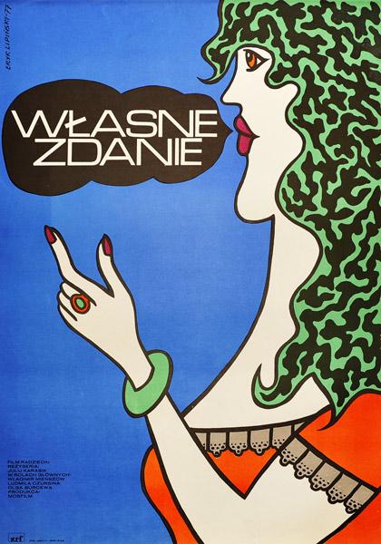 Polski plakat filmowy do filmu radzieckiego w reżyserii Julija Karasika Własne zdanie. Projekt plakatu: Eryk Lipiński