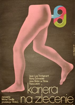 Polski plakat filmowy do filmu produkcji francuskiej z Romy Schneider w roli głównej Kariera na zlecenie. Projekt plakatu: Lech Majewski