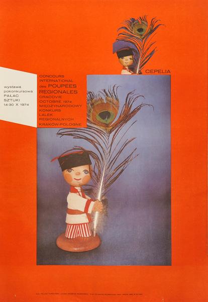Polski plakat międzynarodowego konkursu i wystawy pokonkursowej lalek regionalnych