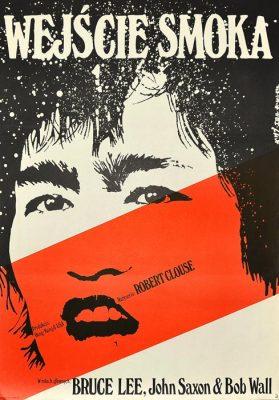 """Oryginalny polski plakat filmowy do kultowego filmu z Brucem Lee pt. """"Wejście smoka"""" z 1973 r. Reżyseria: Robert Clouse. Projekt plakatu: Jakub Erol"""