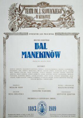 """Afisz zapowiadający premierę sztuki """"Bal manekinów"""" Bruno Jasieńskiego"""